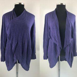 Eileen Fisher Cotton Linen Open Draped Cardigan